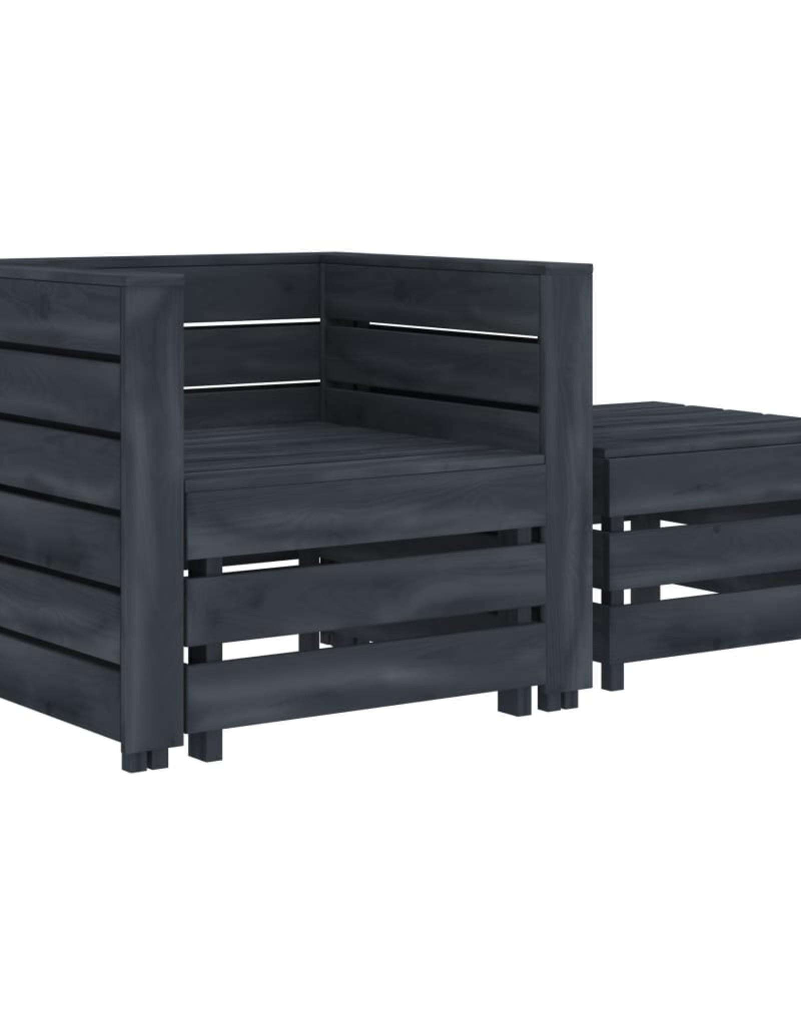 vidaXL 2-delige Loungeset pallet hout grijs