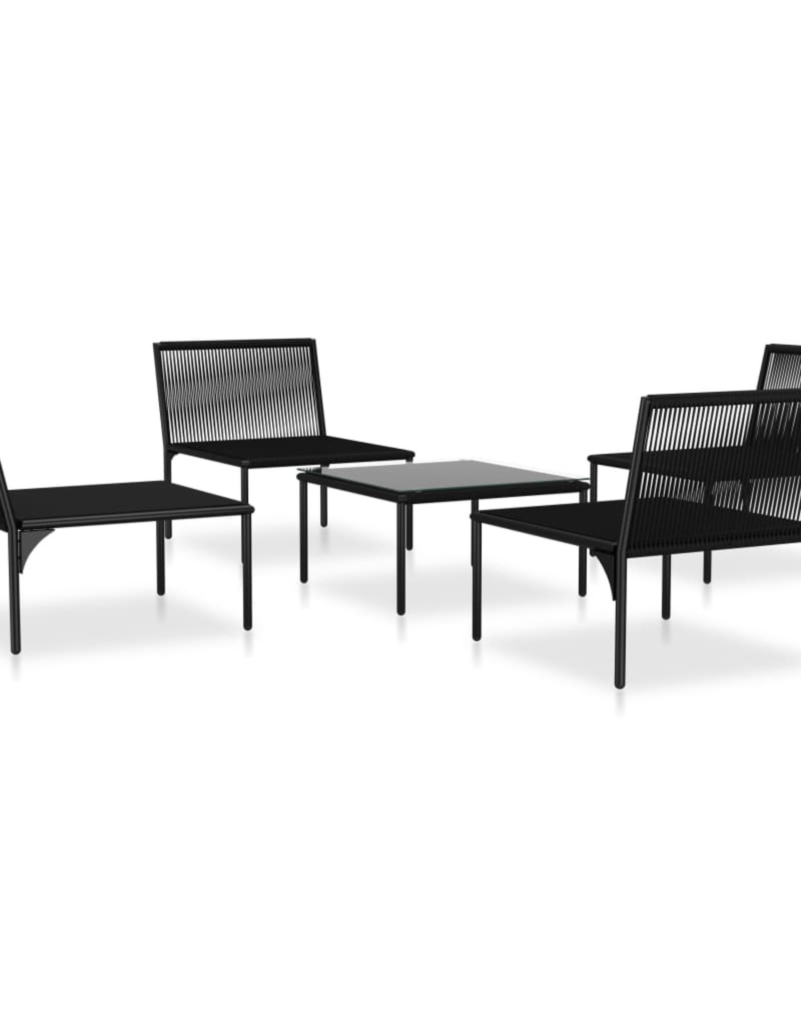 vidaXL 5-delige Loungeset met kussens PVC zwart