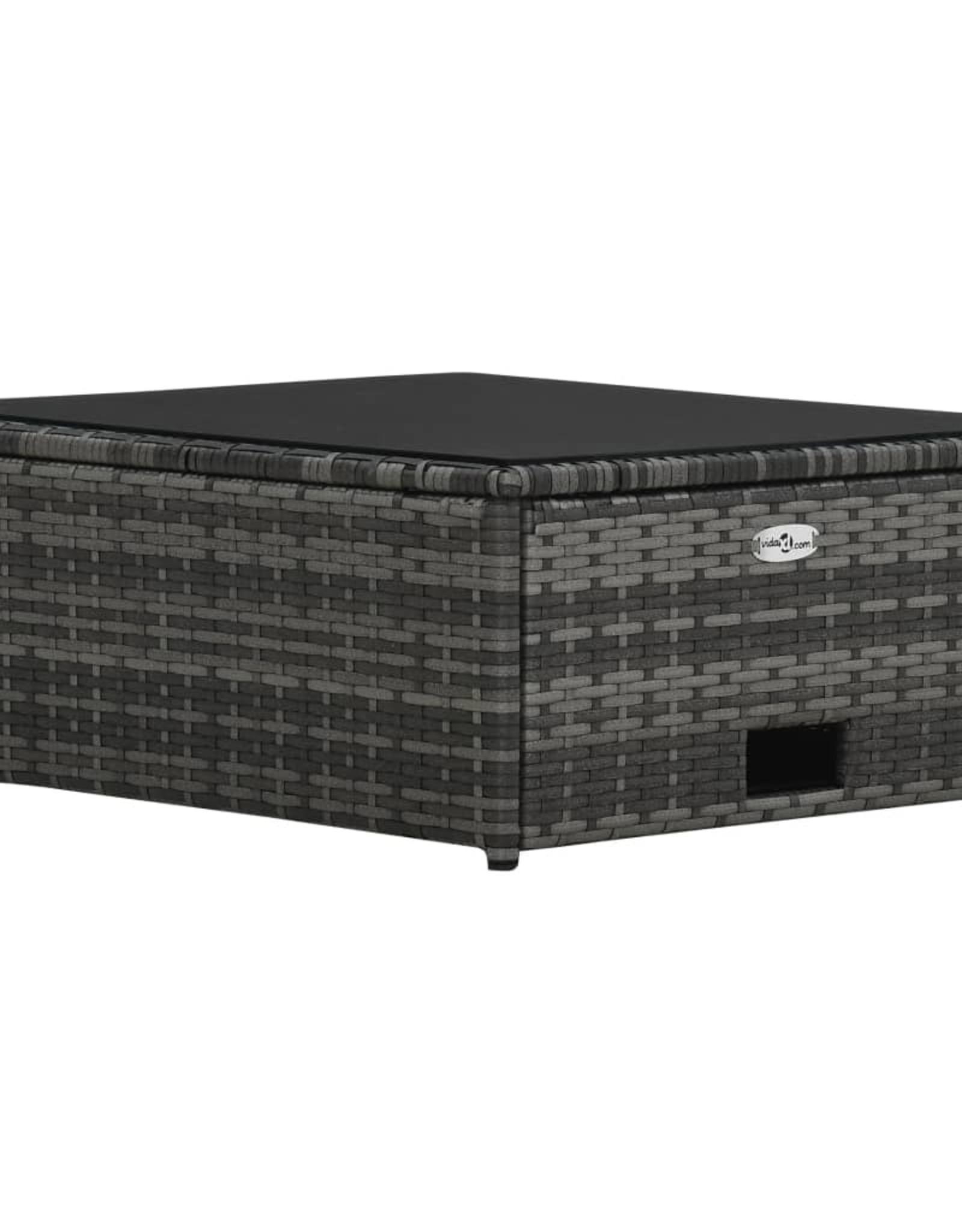 vidaXL 4-delige Loungeset met kussens poly rattan grijs