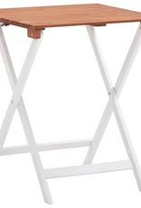 vidaXL 3-delige Bistroset massief acaciahout donkerbruin en wit
