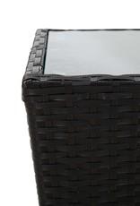 vidaXL 3-delige Bistroset poly rattan en gehard glas zwart