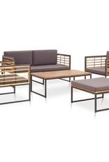 vidaXL 5-delige Loungeset massief acaciahout en staal
