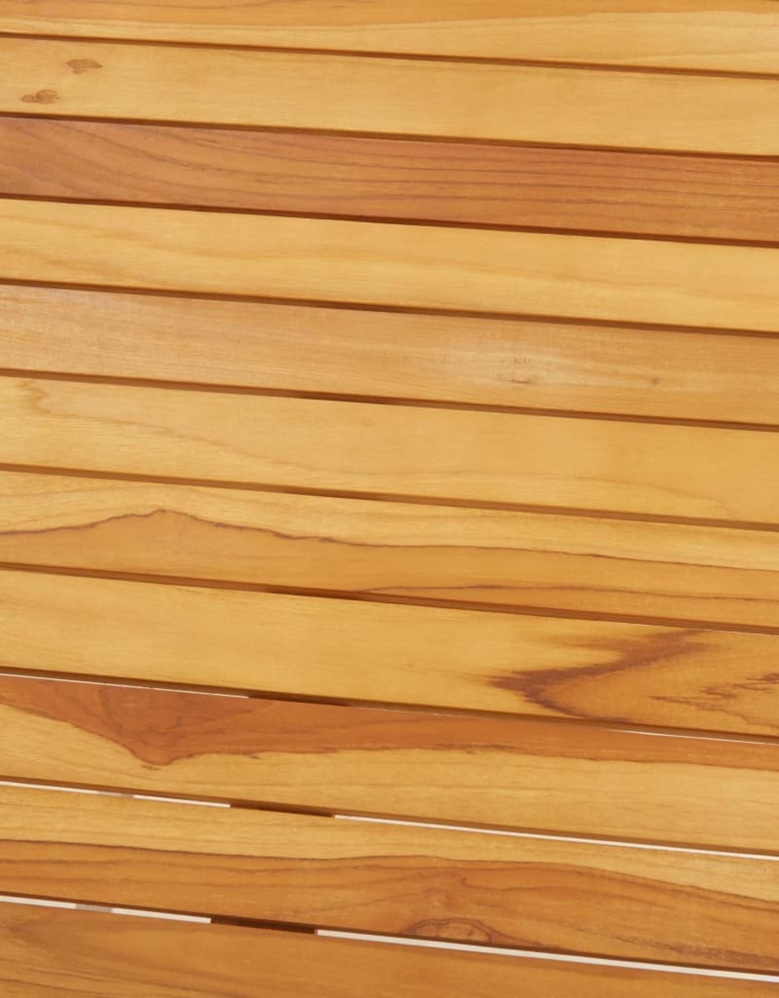 vidaXL 3-delige Barset massief teakhout en roestvrij staal