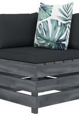 vidaXL 5-delige Loungeset met bloemenkussens pallet hout