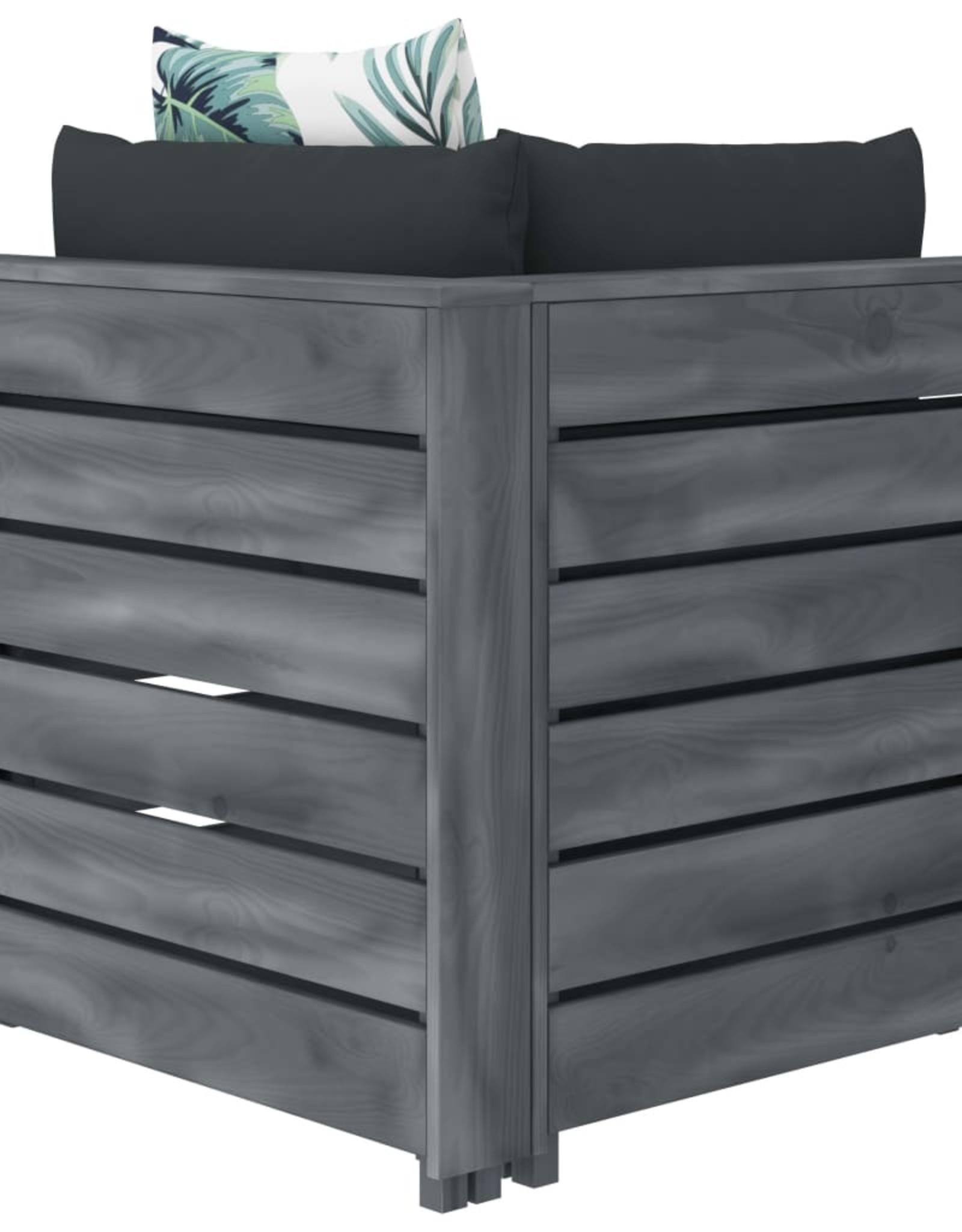 vidaXL 4-delige Loungeset met bloemenkussens pallet hout