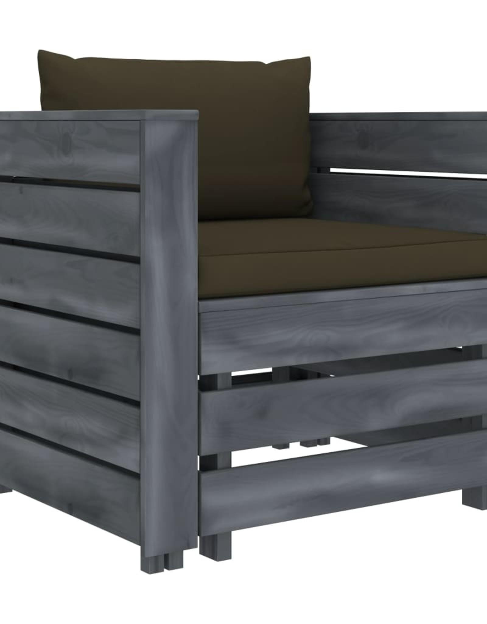 vidaXL 2-delige Loungeset met taupekleurige kussens hout
