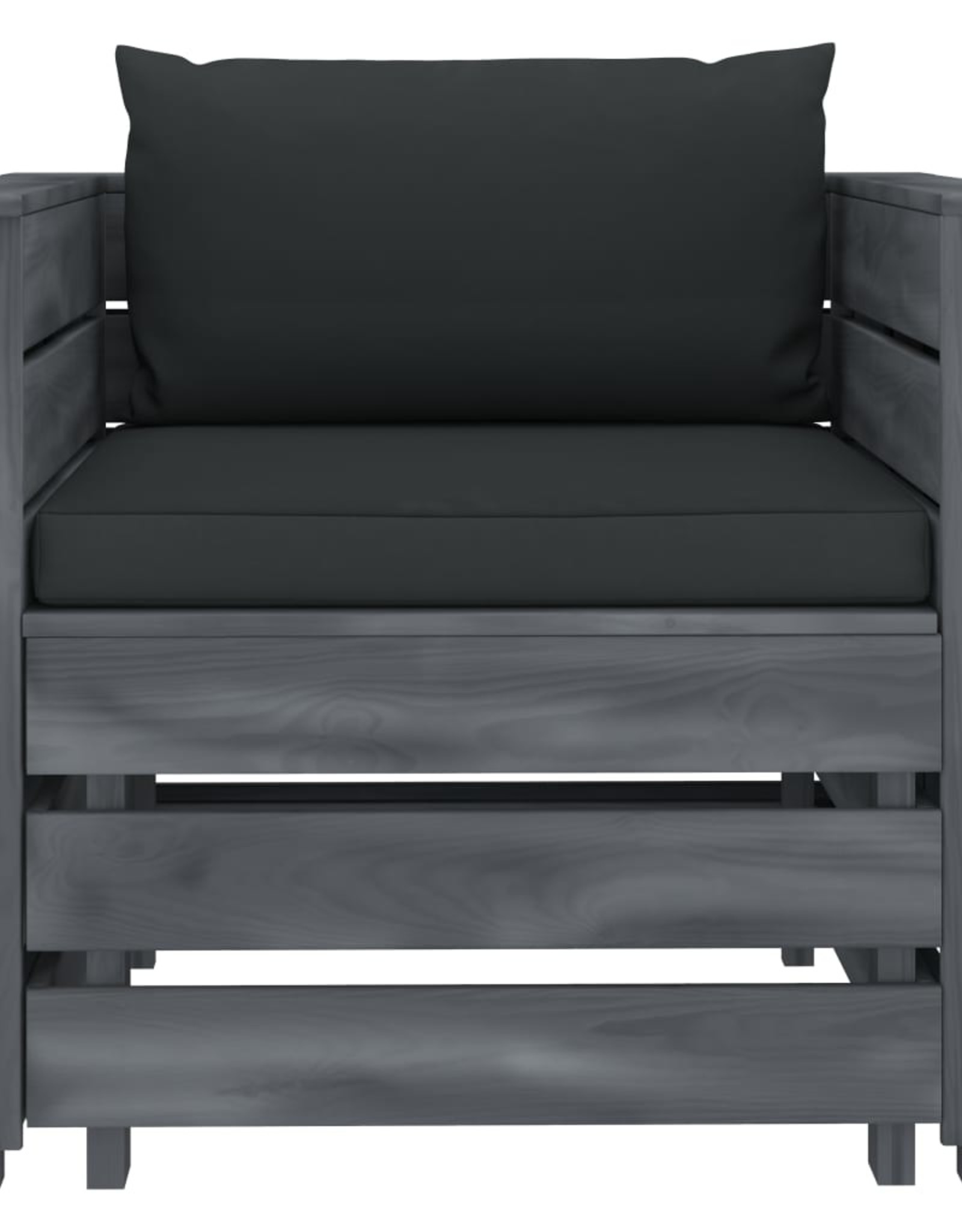 vidaXL 2-delige Loungeset met antracietkleurige kussens hout