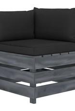 vidaXL 4-delige Loungeset met zwarte kussens pallet hout