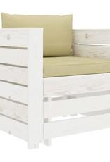 vidaXL 2-delige Loungeset met crèmekleurige kussens hout