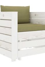 vidaXL 2-delige Loungeset met beige kussens hout