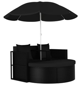 vidaXL Tuinbed met parasol poly rattan zwart