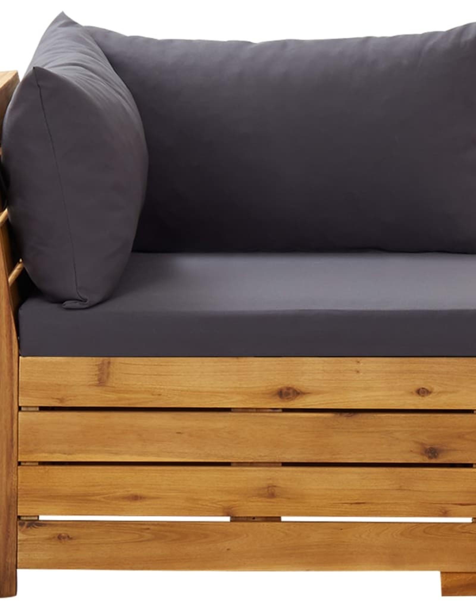 vidaXL 6-delige Loungeset met kussens acaciahout donkergrijs
