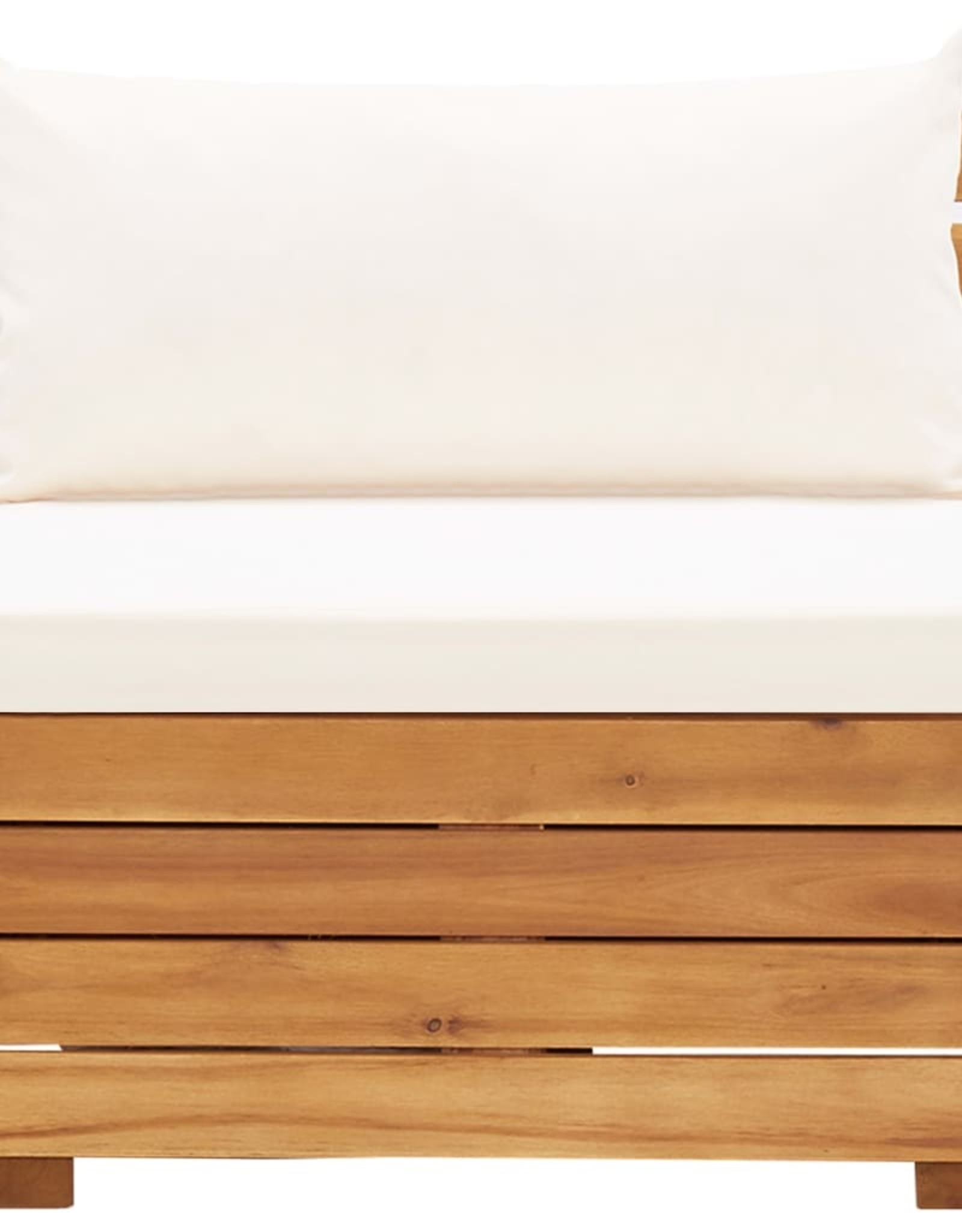 vidaXL 5-delige Loungeset met kussens massief acaciahout crèmewit