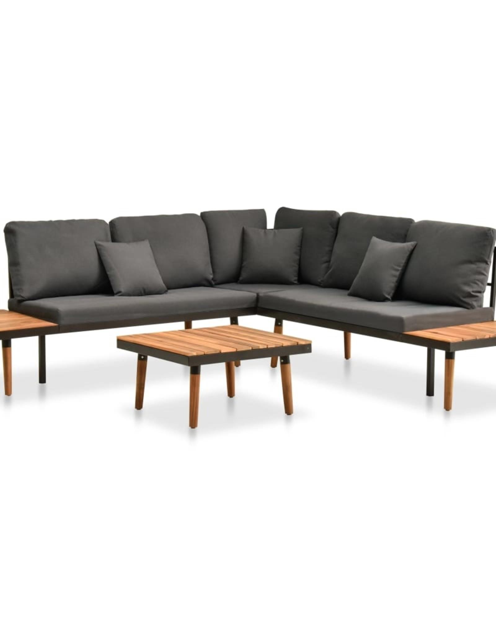vidaXL 4-delige Loungeset met kussens massief acaciahout