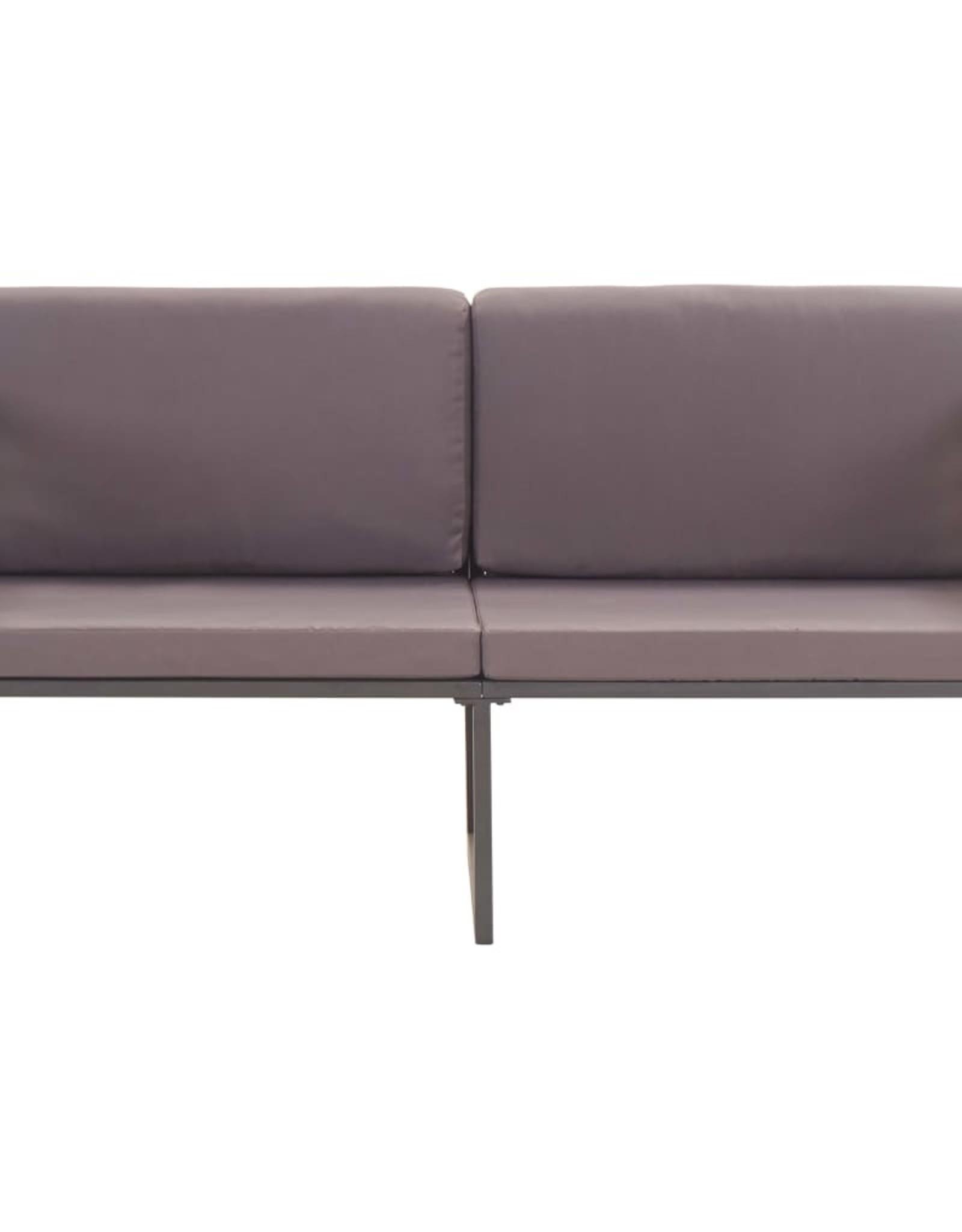 vidaXL 4-delige Loungeset massief acaciahout en staal