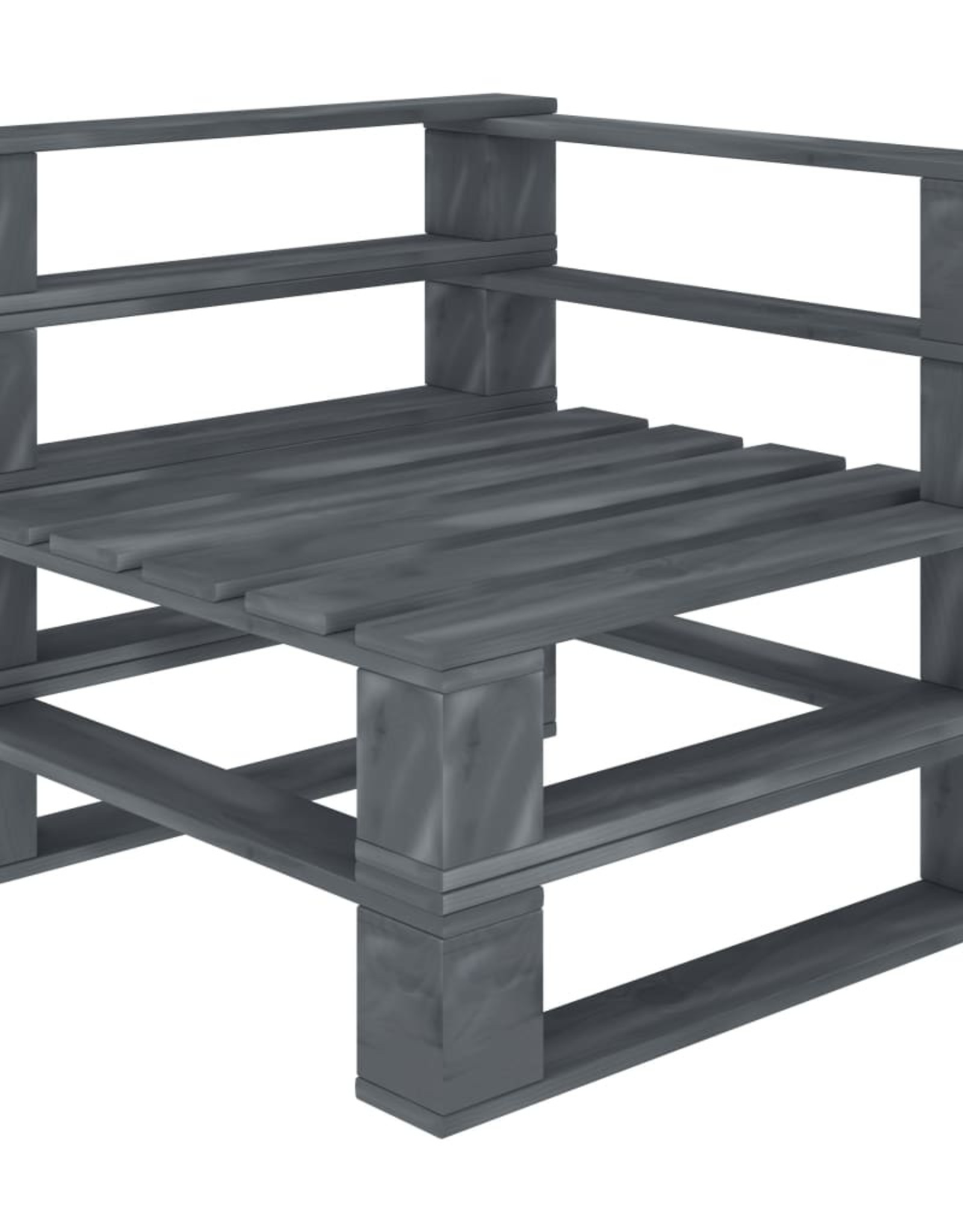 vidaXL 4-delige Loungeset met antraciet en bloemenkussens pallet hout