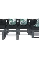 vidaXL 6-delige Loungeset met antraciet en bloemenkussens pallet hout