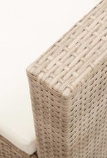 vidaXL 3-delige Loungeset met kussens poly rattan beige