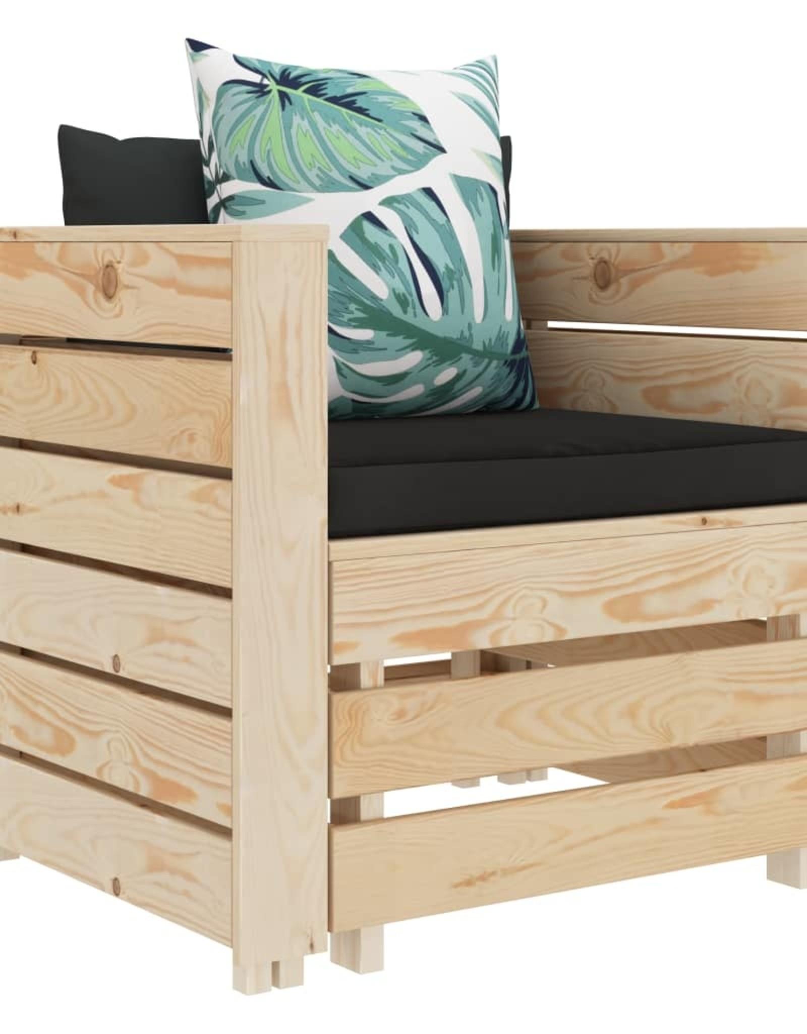 vidaXL 2-delige Loungeset met bloemenkussens hout