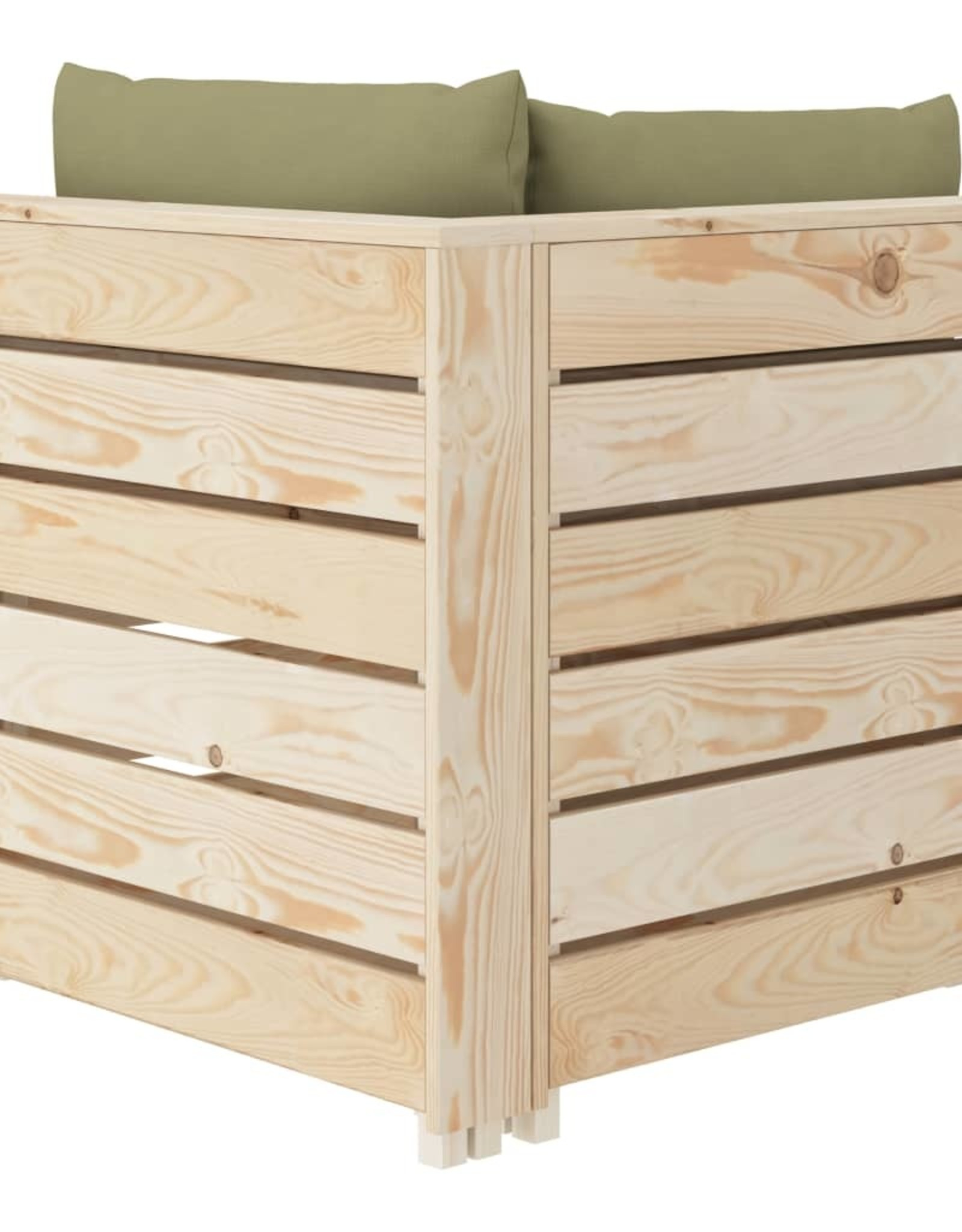 vidaXL 6-delige Loungeset met beige kussens pallet hout