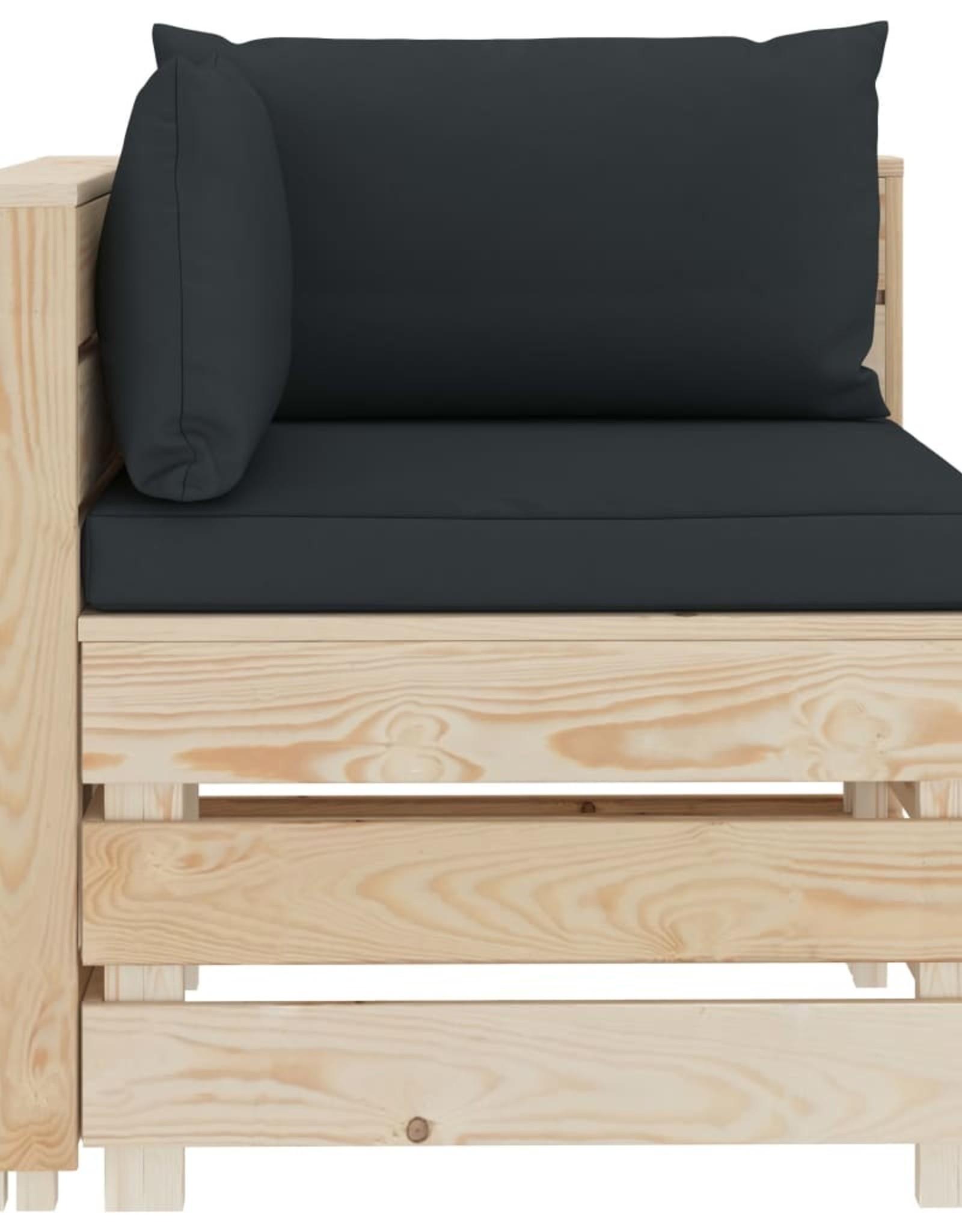 vidaXL 6-delige Loungeset met antracietkleurige kussens pallet hout
