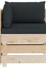 vidaXL 5-delige Loungeset met antracietkleurige kussens pallet hout