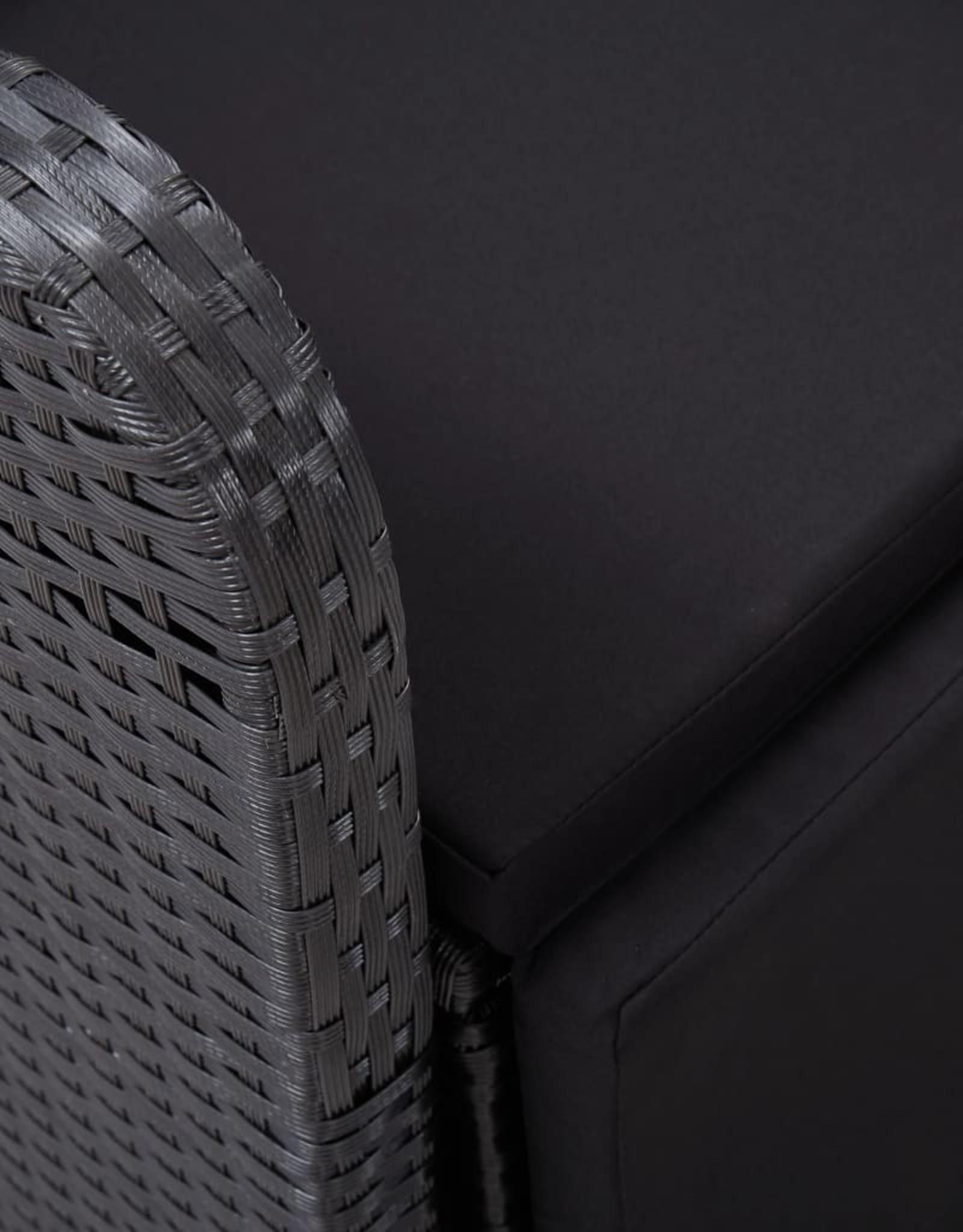 vidaXL 11-delige Tuinset met kussens poly rattan zwart