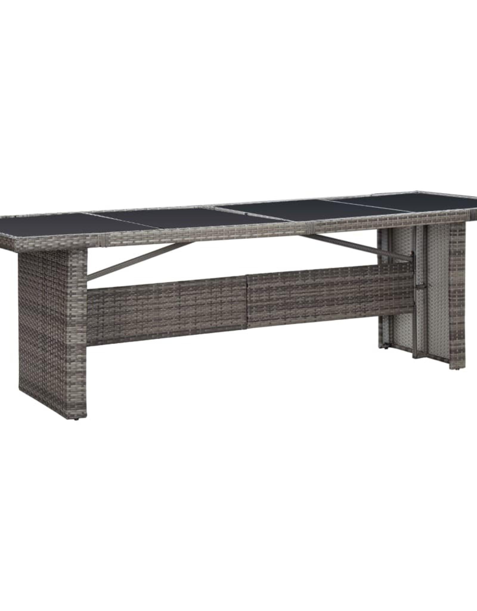 vidaXL 11-delige Tuinset met kussens poly rattan grijs