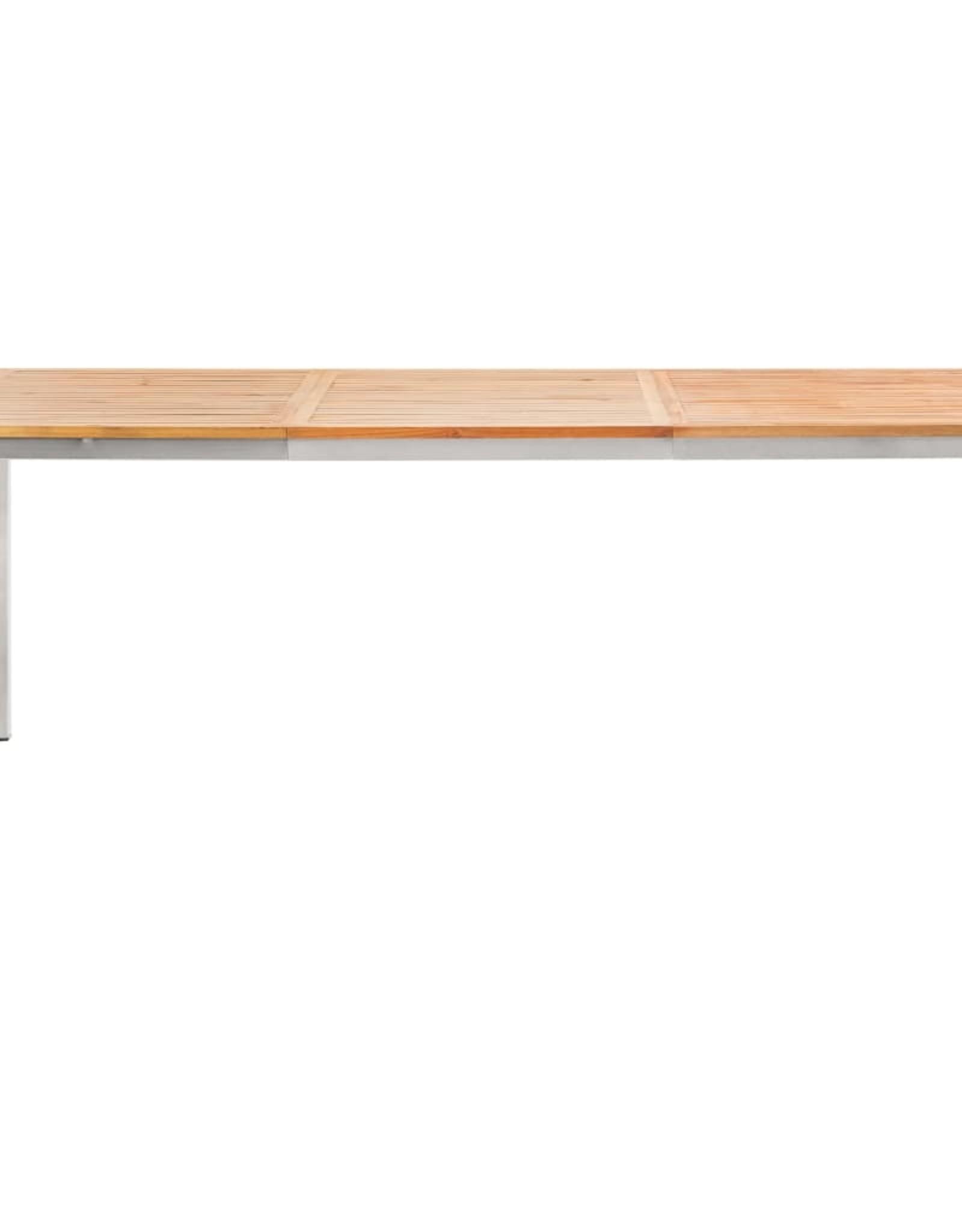 vidaXL 7-delige Tuinset massief teakhout en roestvrij staal