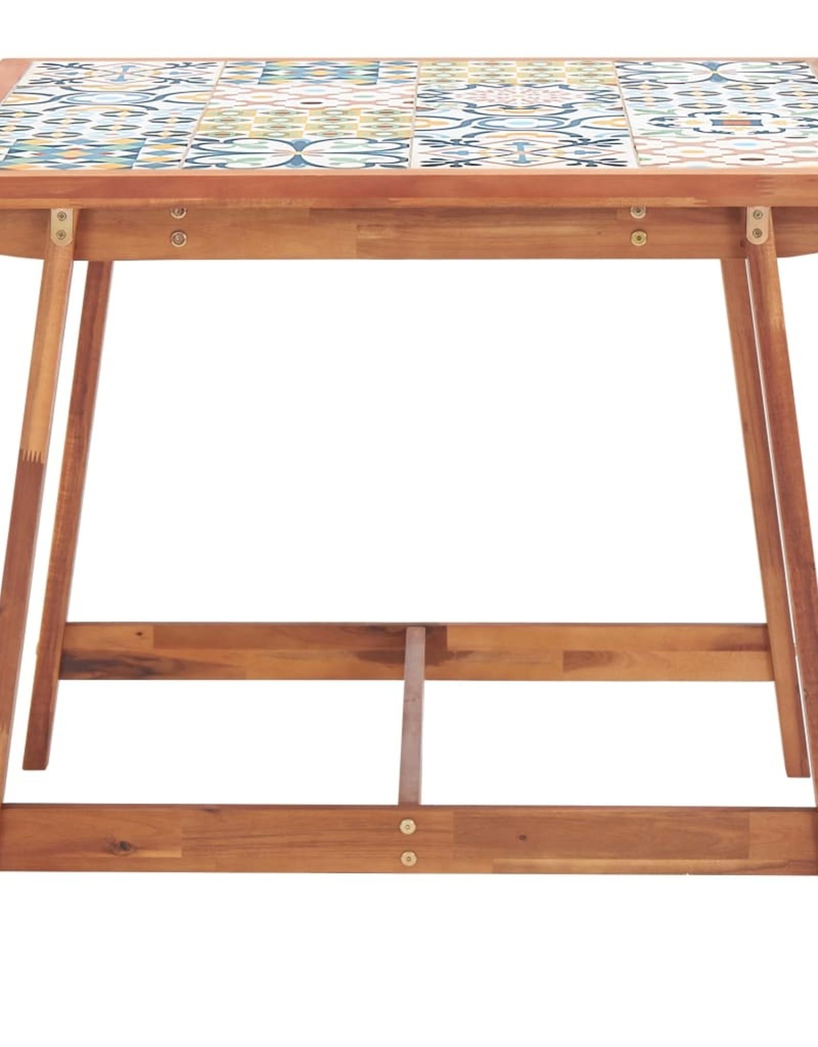 vidaXL 3-delige Tuinset mozaïektegelblad en massief acaciahout