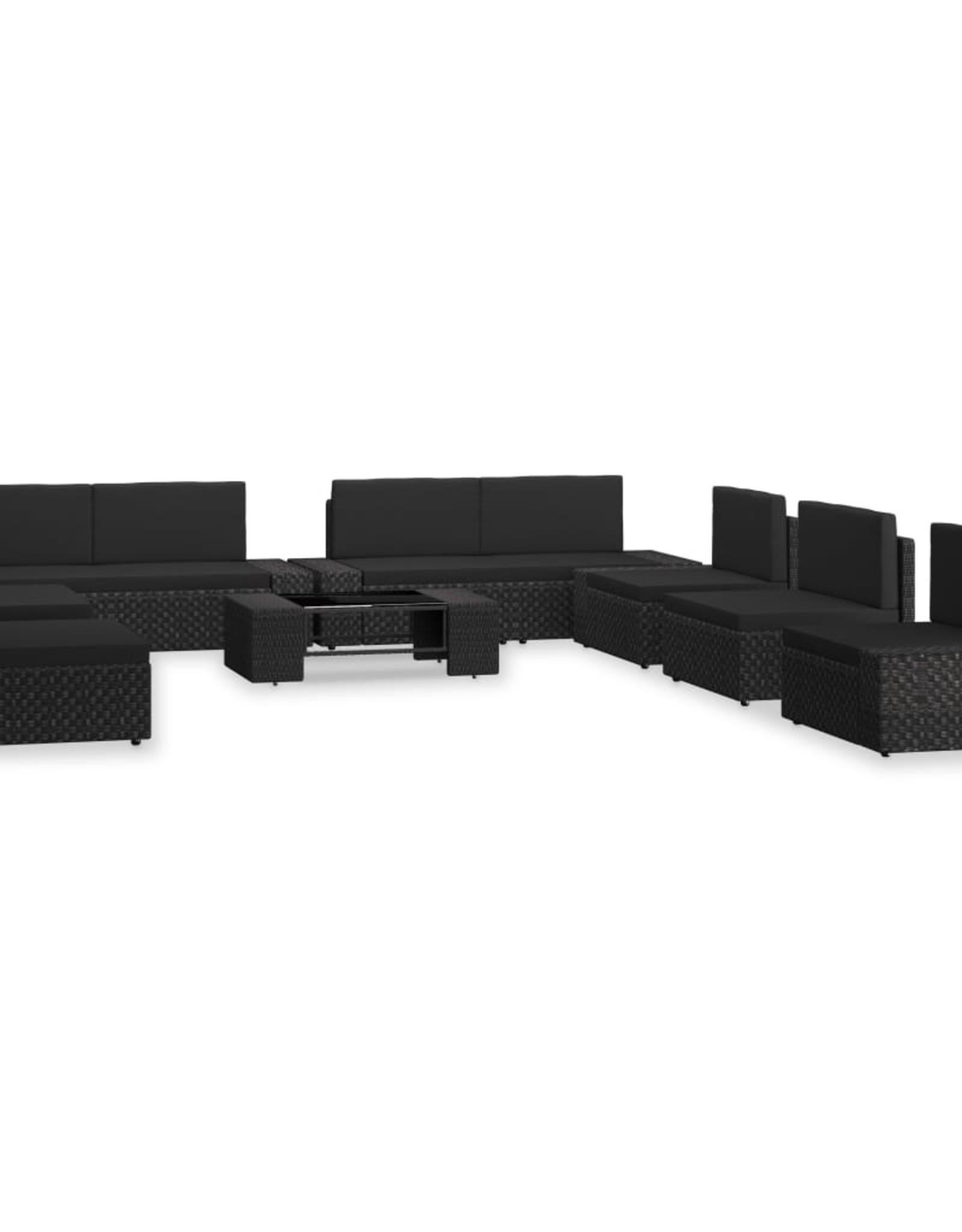vidaXL 10-delige Loungeset poly rattan zwart