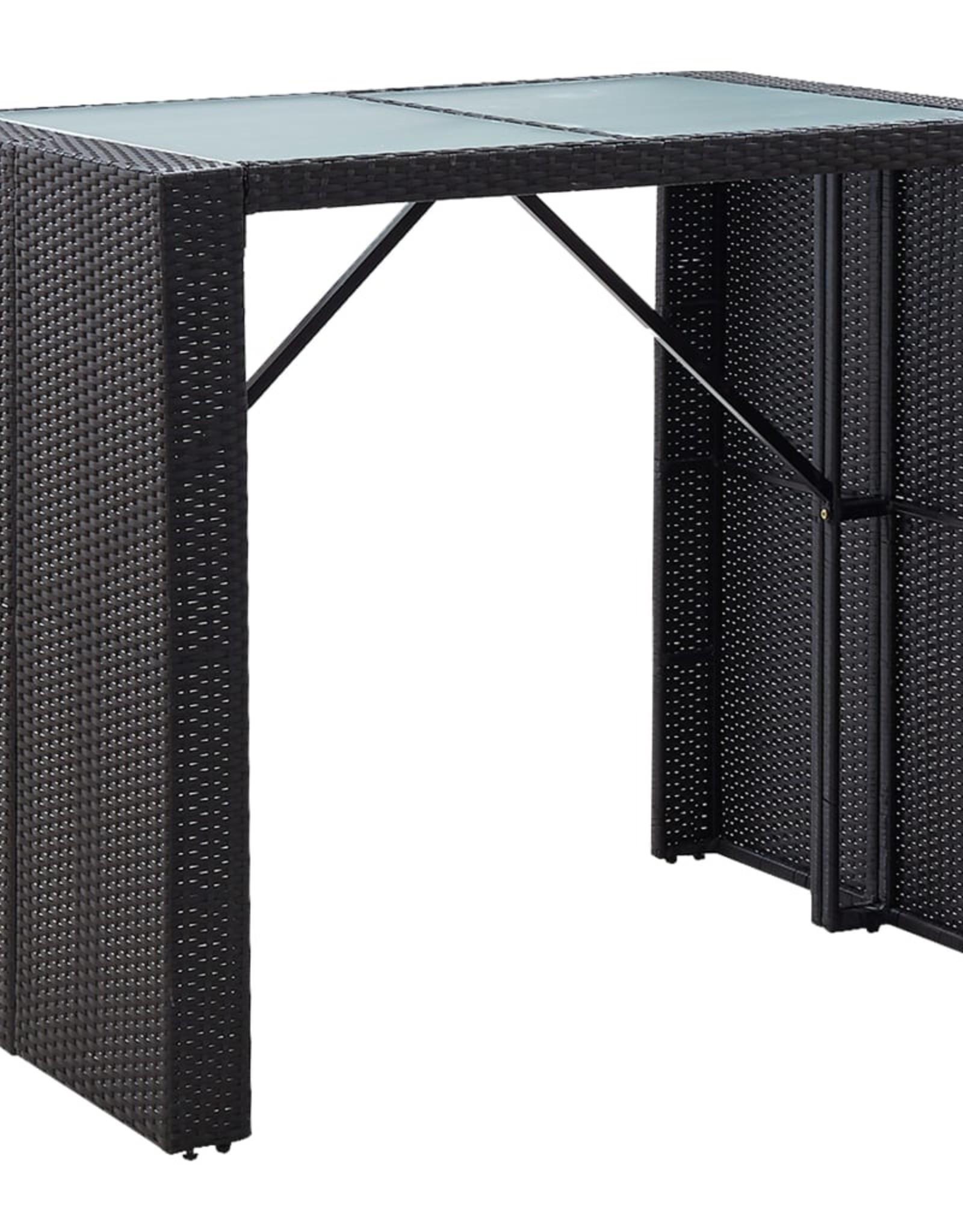 vidaXL 5-delige Tuinbarset poly rattan en glas zwart