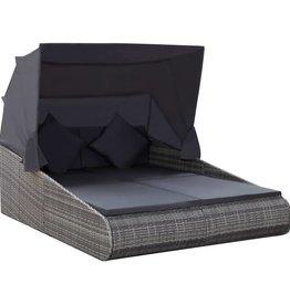 vidaXL Tuinbed met uitklapbaar dak 200x139 cm poly rattan grijs