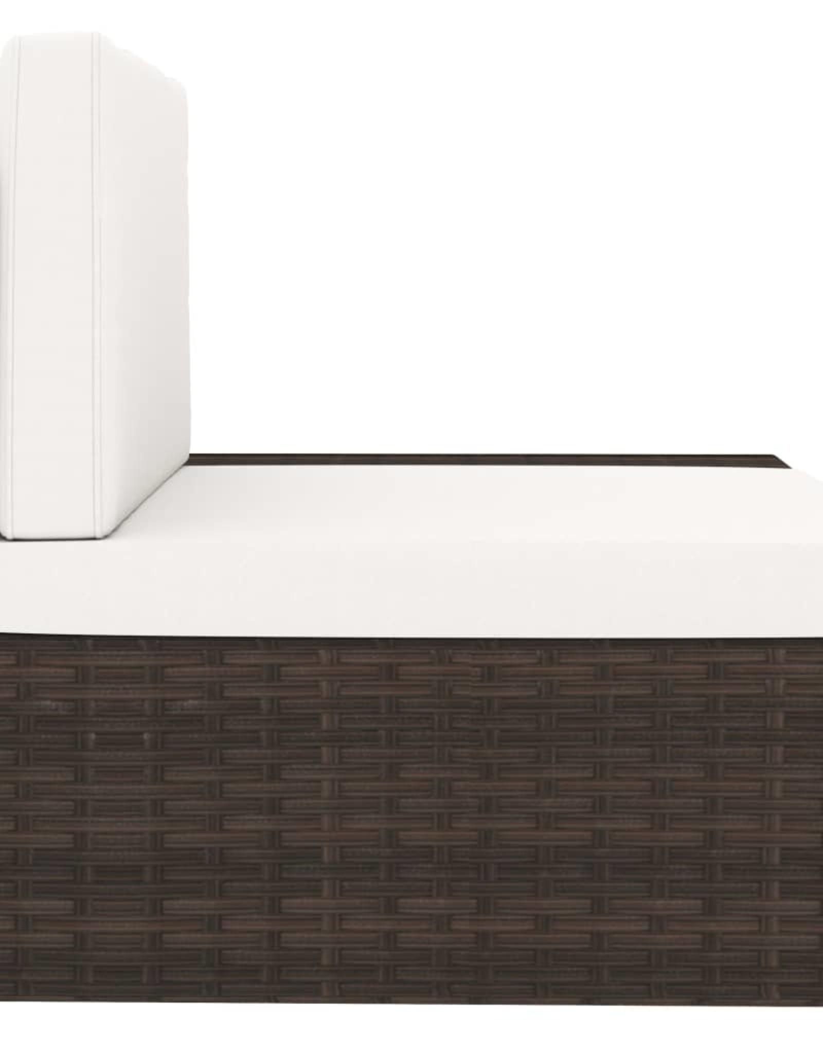 vidaXL 5-delige Loungeset poly rattan bruin