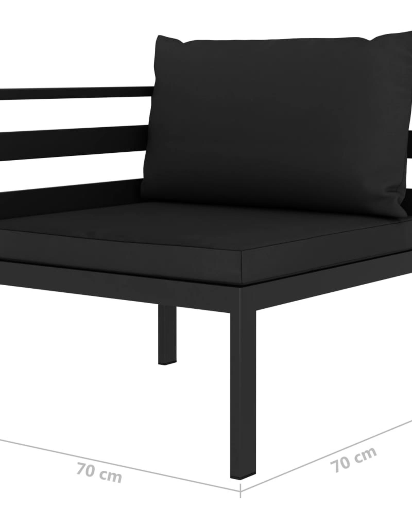 vidaXL 4-delige Loungeset met kussens aluminium antraciet