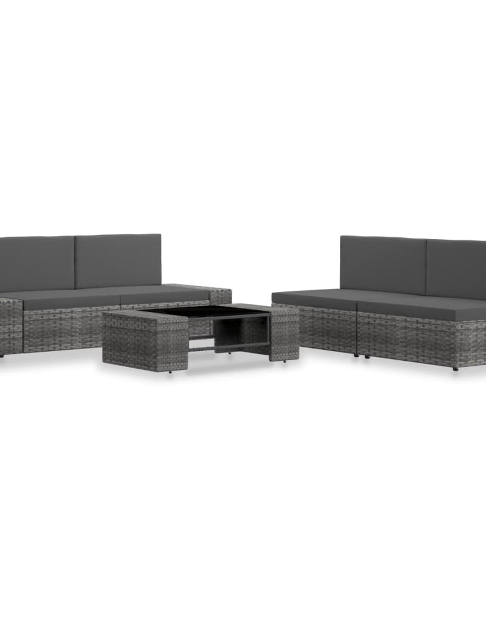 vidaXL 5-delige Loungeset poly rattan grijs