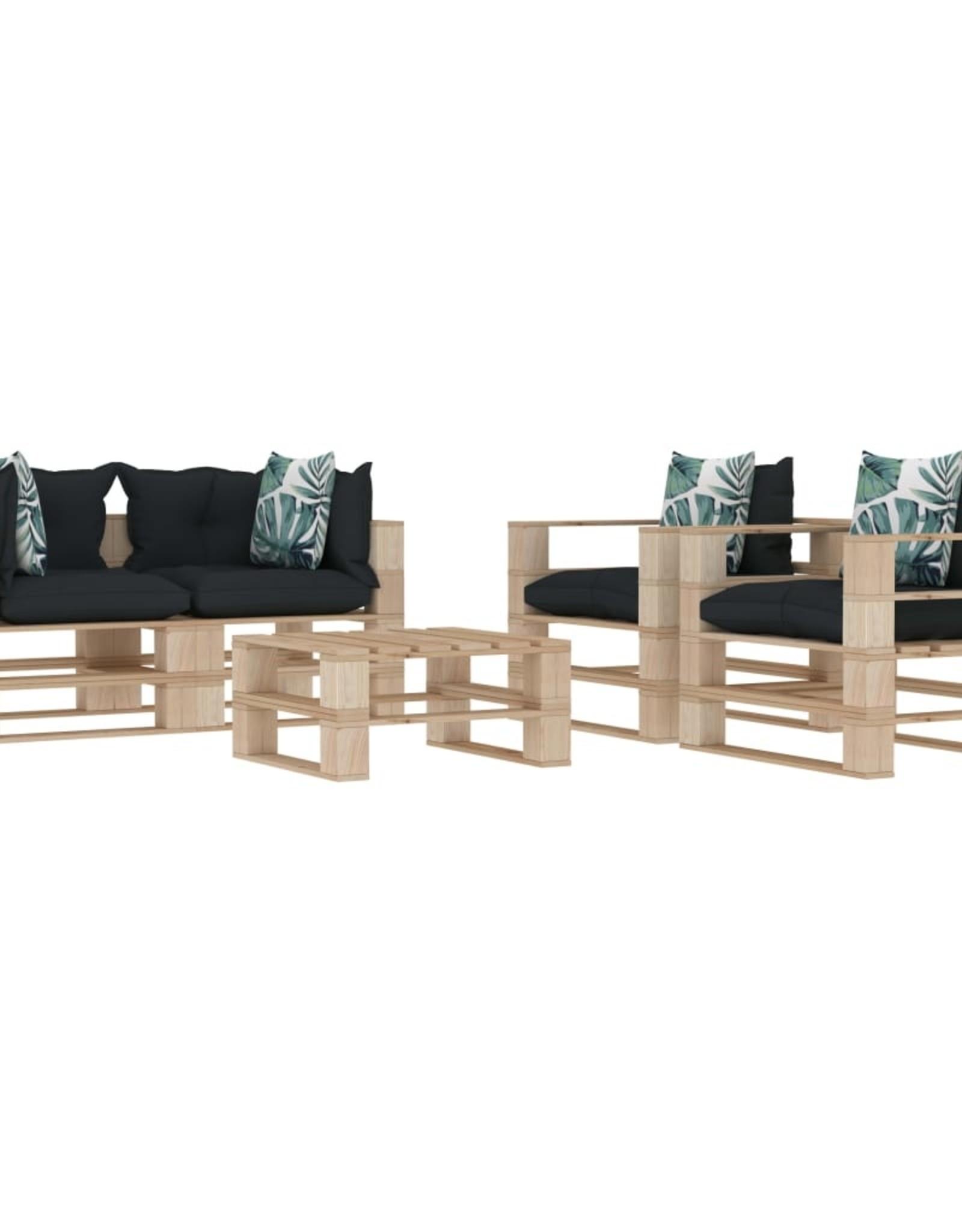 vidaXL 5-delige Loungeset met antraciet en bloemenkussens pallet hout