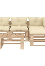 vidaXL 5-delige Loungeset met crèmekleurige kussens pallet hout