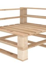 vidaXL 4-delige Loungeset met beige kussens pallet hout