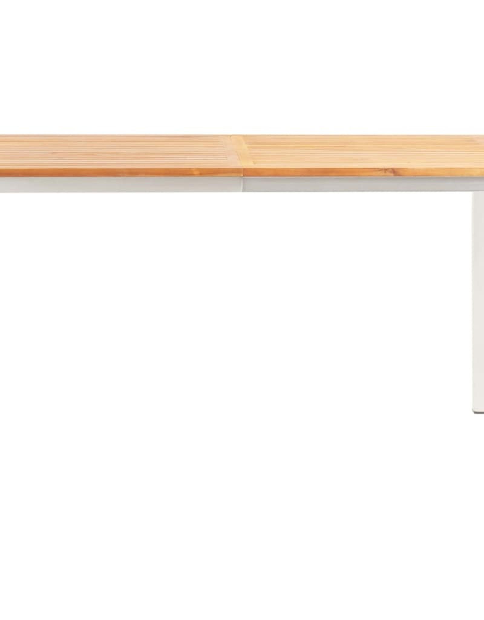 vidaXL 5-delige Eethoek massief acaciahout en roestvrij staal