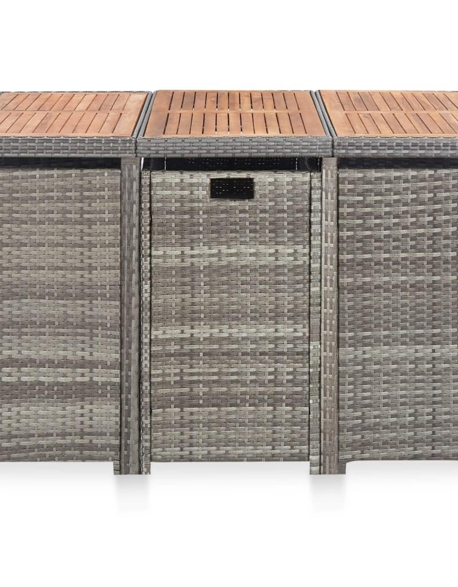 vidaXL 11-delige Tuinset poly rattan en acaciahout antraciet