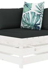 4-delige Loungeset met bloemenkussens pallet hout