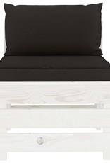 4-delige Loungeset met zwarte kussens pallet hout