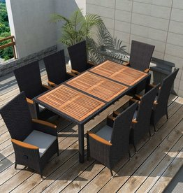 9-delige Tuinset poly rattan acaciahout zwart