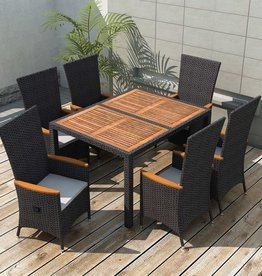 7-delige Tuinset poly rattan acaciahout zwart