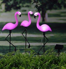 Grondpinnen 3 st solar LED flamingo