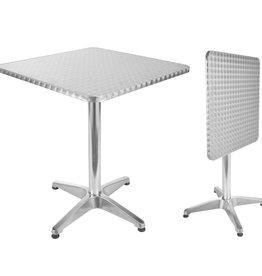 Bistrotafel inklapbaar vierkant 60x60x70 cm aluminium