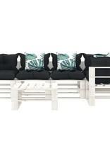 6-delige Loungeset met antraciet en bloemenkussens pallet hout