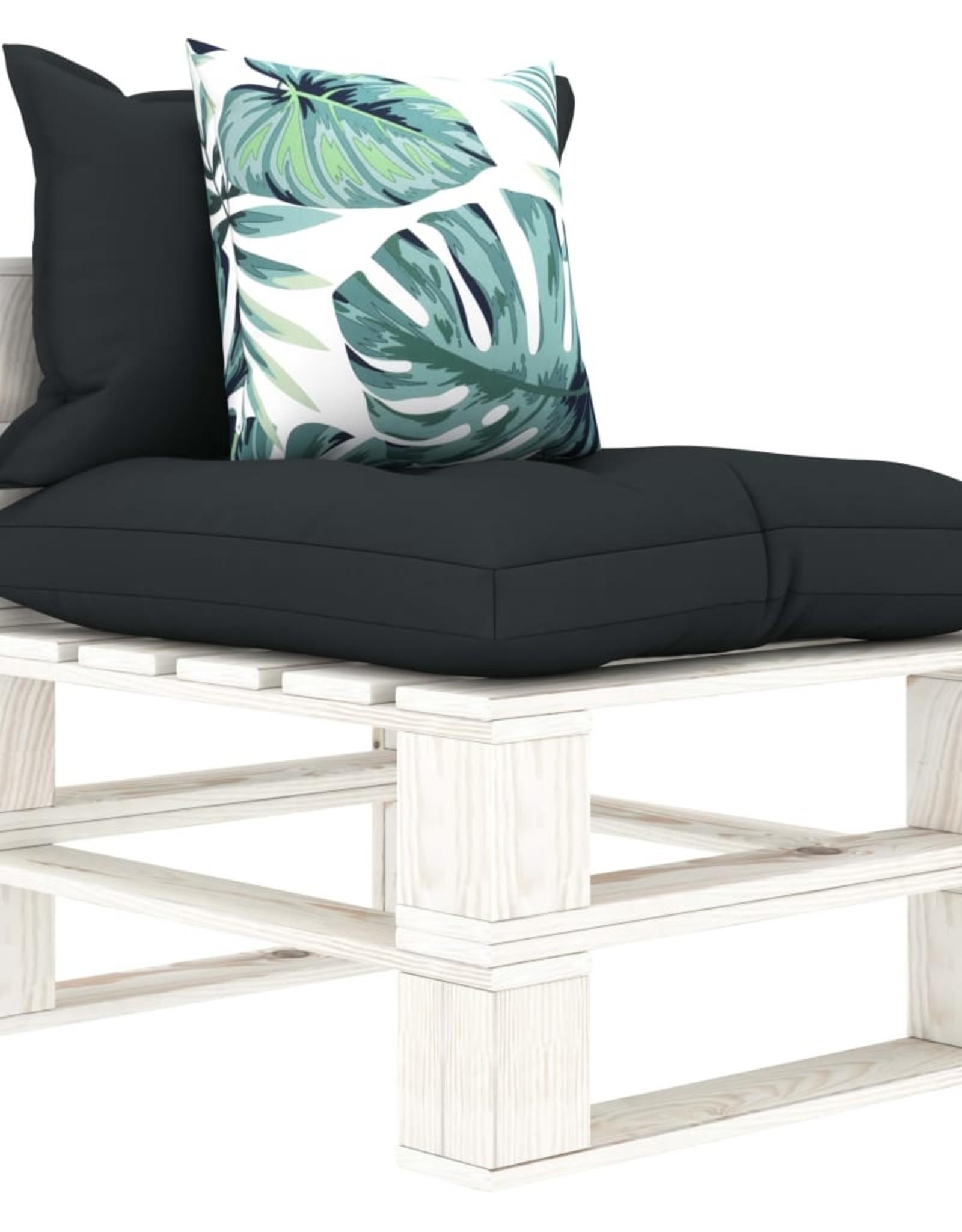 5-delige Loungeset met antraciet en bloemenkussens pallet hout