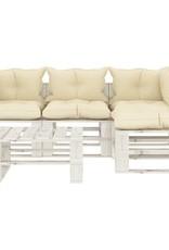 5-delige Loungeset met crèmekleurige kussens pallet hout